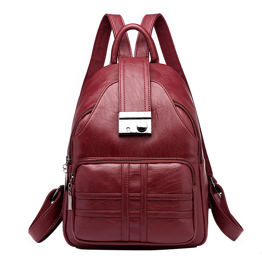 Fashion Women backpack Simple Casual Soft Leather Anti-theft Travel Small backpacks for women school bag mochilas mujer 2018Fashion Women backpack Simple Casual Soft Leather Anti-theft Travel Small backpacks for women school bag mochilas mujer 2018