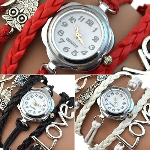 Women's Infinity Love Owl Knitting Multilayer Faux Leather Quartz Bracelet Watch