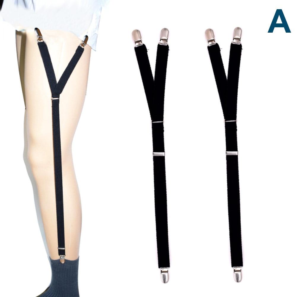 Fashion Men Shirt Stays Garter Suspenders Holder Elastic Y Shape Adjustable Uniform Locking Clamp Braces Shirts Garters