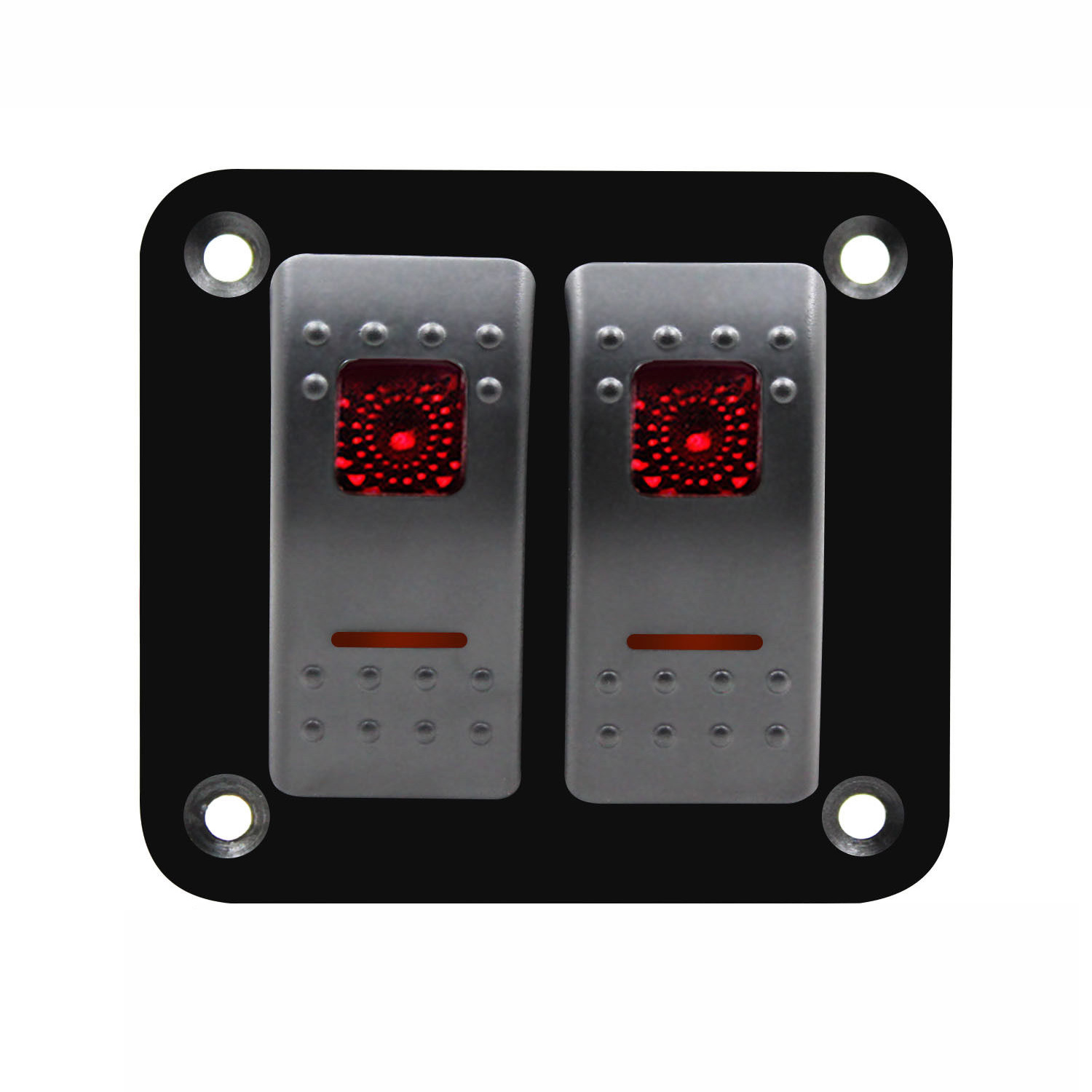 12V-24V Gang Red Color 2 Rocker Switch Panel Circuit Breaker Boat Marine IP66 Waterproof Pre-wired 10A Systems Circuit Breakers