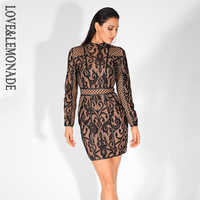 Love&Lemonade Black Stand-Up Collar Lace Stitching Slim Long-Sleeved Dress LM80499