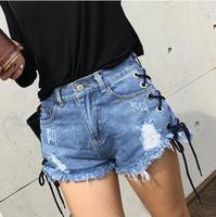 2016 AA Denim Shorts Summer Style Retro High Waist Stretch Denim Shorts Slim Women Jeans