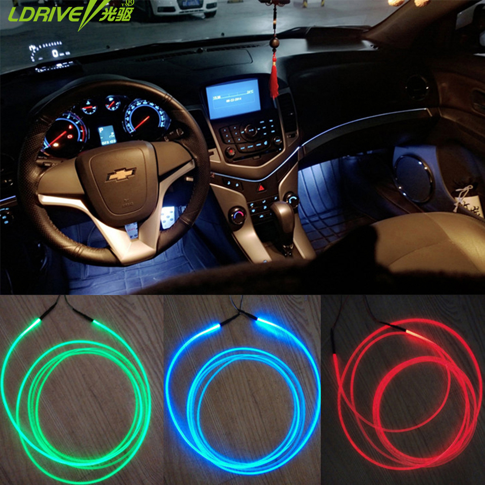 5pc lot refit optic fiber band lamp car interior lights car atmosphere ambient light car console. Black Bedroom Furniture Sets. Home Design Ideas