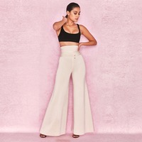 New Fashion Women Tie Pants Gold Button High Flare Rayon Bandage Pants