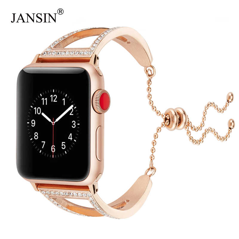 watch band For Apple Watch Series 5 4 3 2 1 Bracelet women Diamond Stainless Steel Strap for iWatch band 38mm 42mm 40mm 44mm