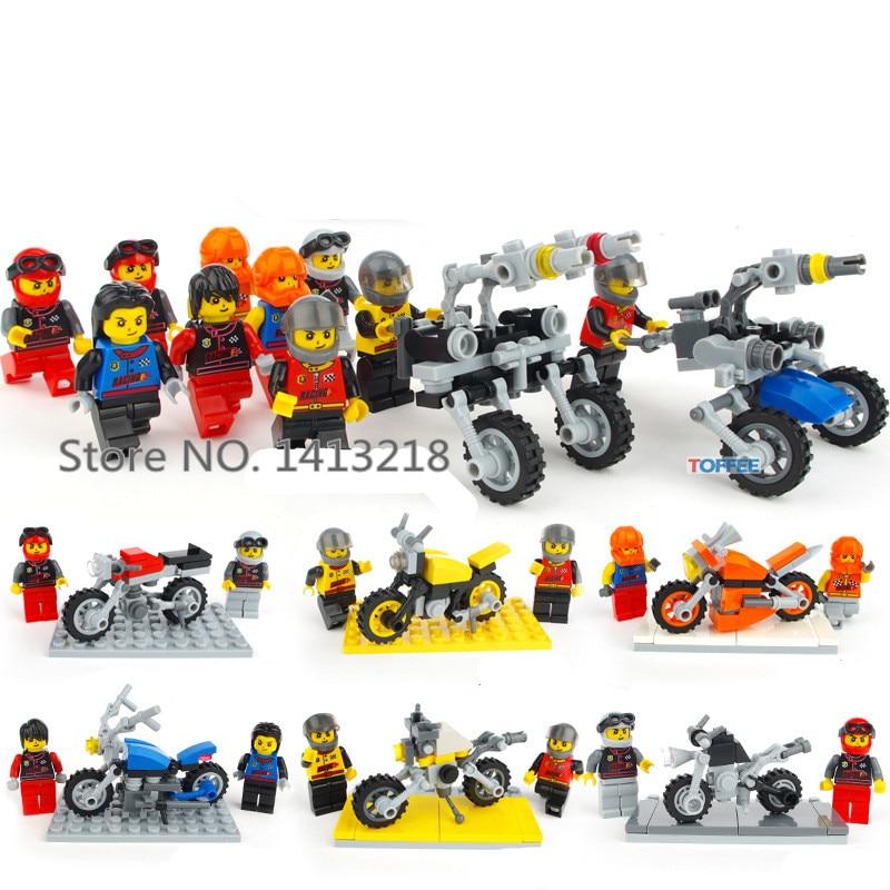 все цены на 332pcs Super Motor CITY Technic Motorcycle Rider Creator car-styling Mini Building Blocks Bricks Figures Gift Toy Boy Children онлайн
