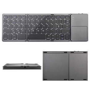 Image 4 - Mini Portable Twice Folding Bluetooth Keyboard BT Wireless Foldable Touchpad Keypad for IOS/Android/Windows ipad Tablet