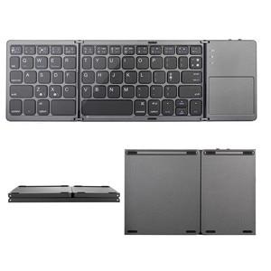 Image 4 - Mini Tragbare Zweimal Folding Bluetooth Tastatur BT Drahtlose Faltbare Touchpad Tastatur für IOS/Android/Windows ipad Tablet