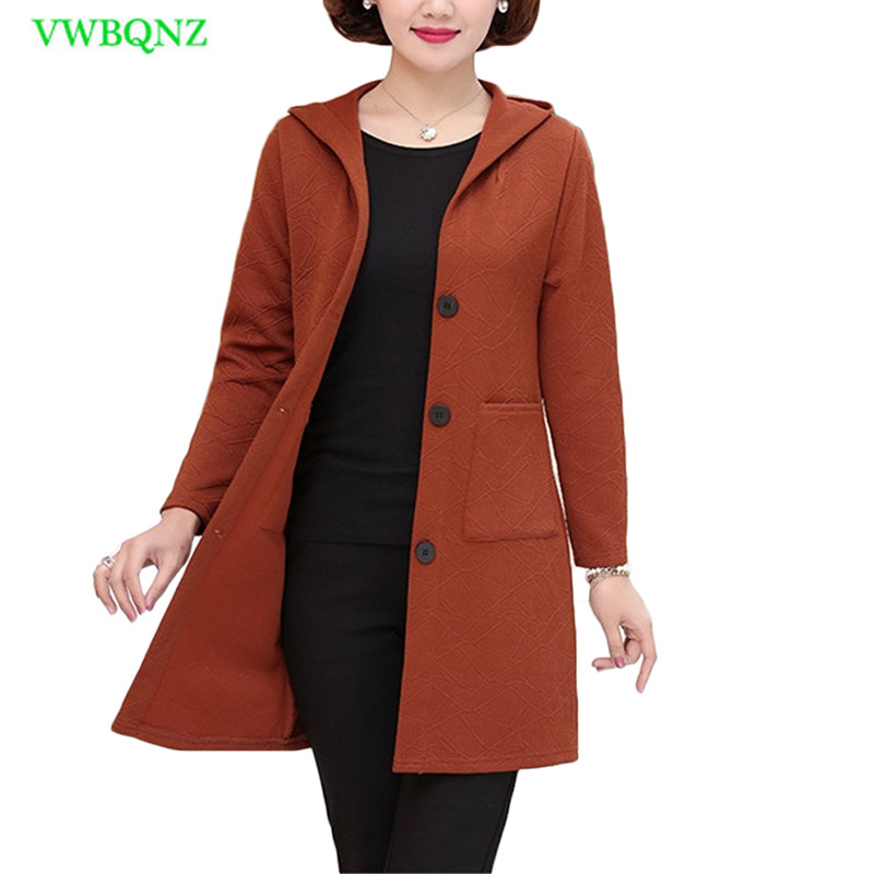 Middle aged Women Windbreaker Coat Spring Autumn Slim Long   Trench   Coats Women's Single-breasted Plus size Hooded Outerwear A272
