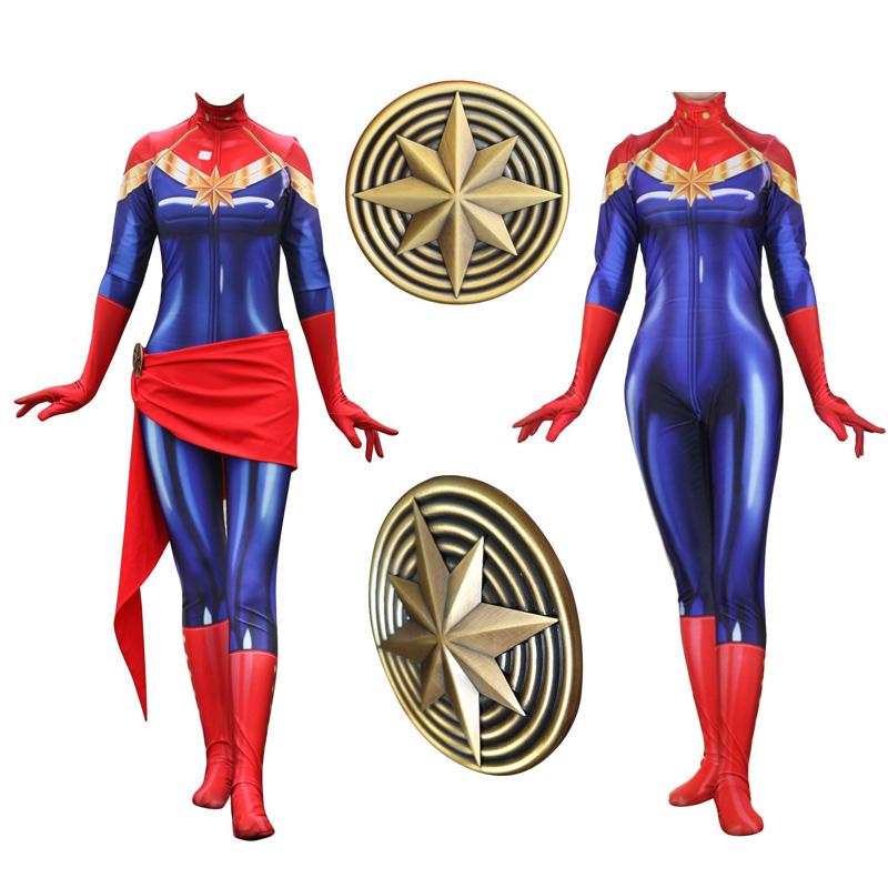 Adult Lycra Avenger 3:infinity War Captain Marvel 3D Print Zentai Costume Cosplay for Woman Halloween Ms Marvel Costumes