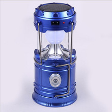 Vintage 6 LEDs Rechargeable Camping Light Collapsible Solar Lantern Tent Lights for Outdoor Hiking