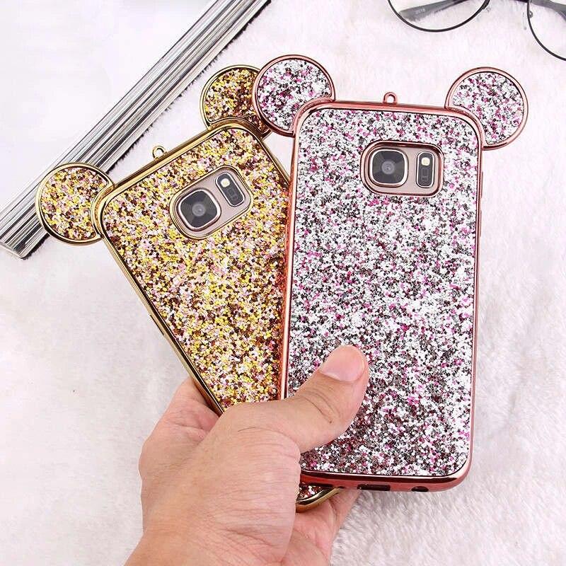 Coque oreilles 3D Minnie Mickey Mouse pour Samsung Galaxy S10 S9 S8 Plus S7 S6 Edge Lite Coque souple à paillettes pour téléphone