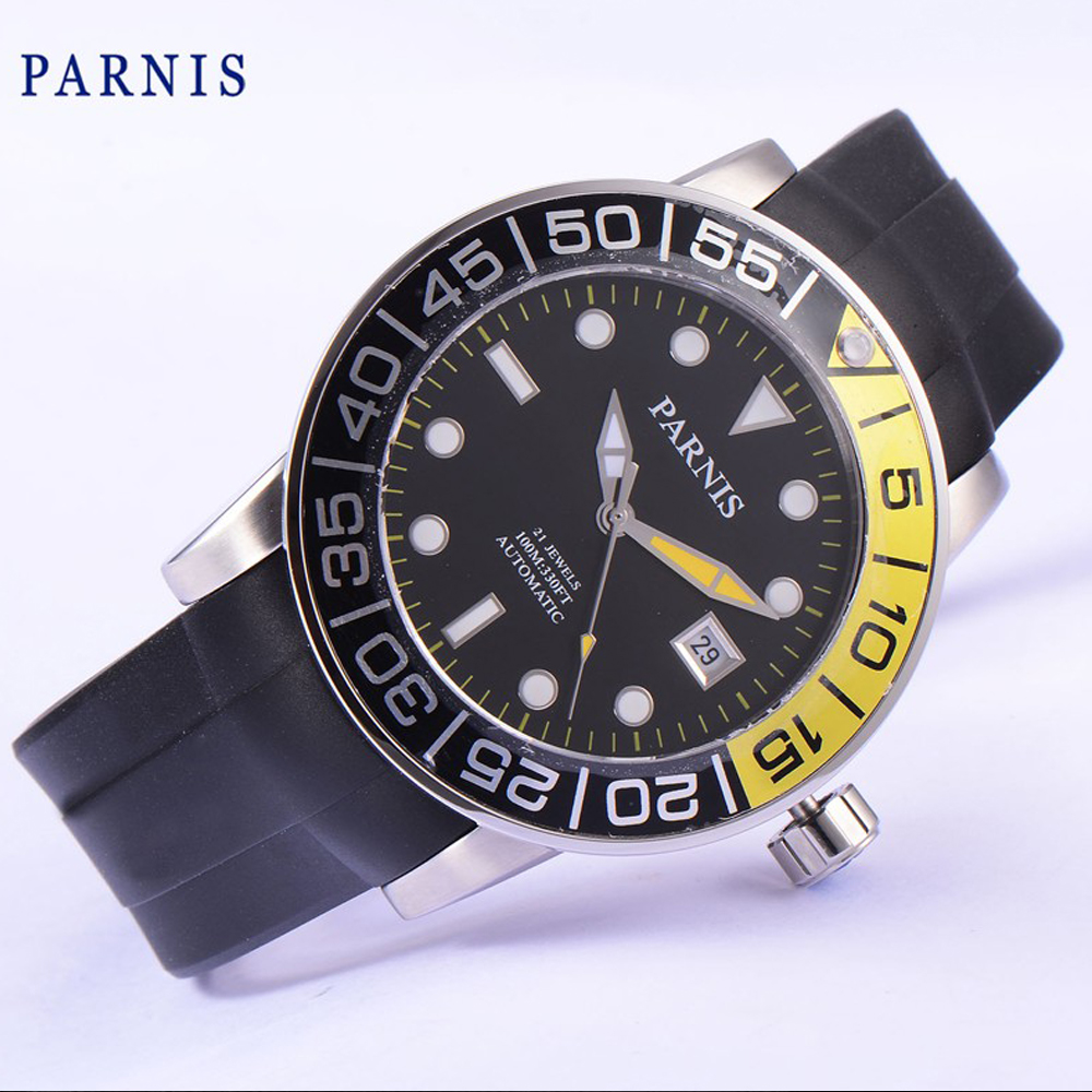 лучшая цена Parnis 42mm black dial Sapphire glass date Miyota automatic mens watch