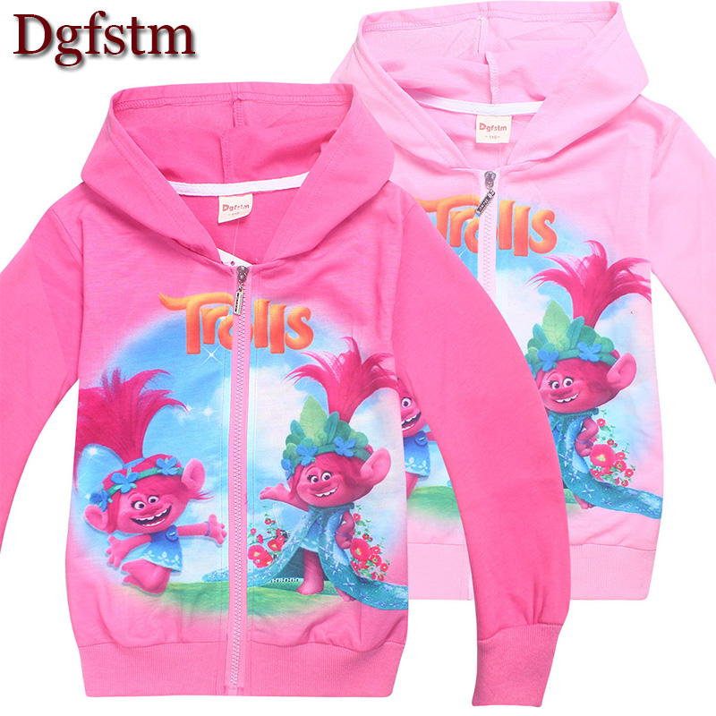 Trolls Girls Movie Poppy Magic Costume Zip Hoodies Baby girl jacket Autumn Coat long sleeve shirts kids Clothing girls outwear