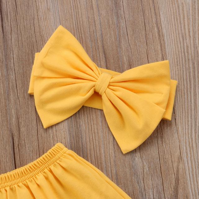Baby Girls Clothes Sets Off Shoulder Tops Shorts Flower Headband 3pcs Cotton 0-24M