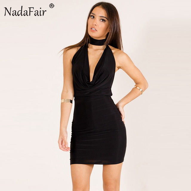 Nadafair New Fashion Low Cut Deep V Neck Sleeveless Backless Halter Dress  Women Sexy Bodycon Club Party Dresses Black Red Blue c56ab992c737
