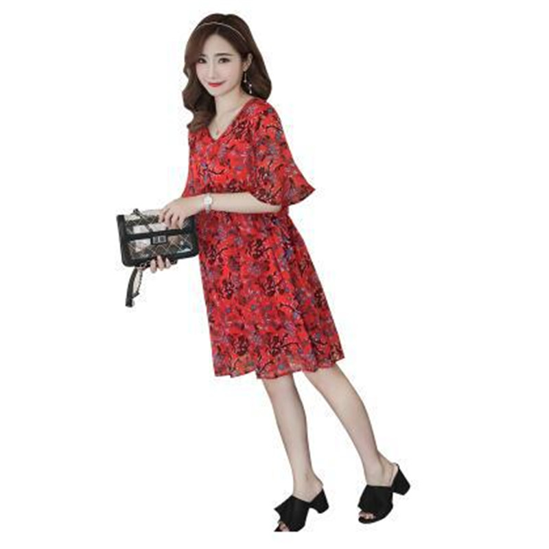 Maternidade Maternity Clothes Summer New Fashion Floral V-neck Short-sleeved Loose Chiffon Dress Knee-length Pregnant Clothing