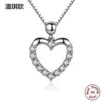 Luxury Authentic 925 Sterling Silver Heart Crystal Love Pendant Necklace Retro Charm Necklace Compatible With Pan
