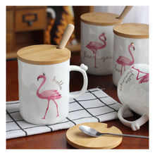 1Pcs Pink cup personalized Flamingo coffee cup tea chic daughter gift family office ceramic pattern random(China)