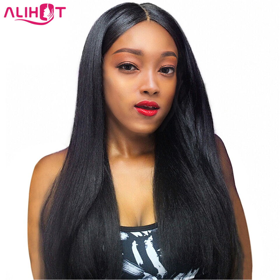 Lace Front Human Hair Wigs Brazilian Straight Hair 100% Hair Pre Plucked Bleached Knots Remy Hair Lace Front Wigs Natural Color