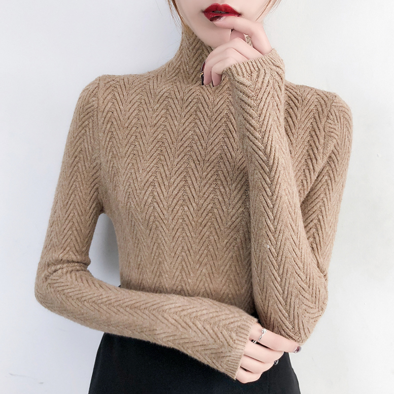 Outono e Inverno Camisa de Malha Roupa Interior Mulher Nova Camisola Magro Camisa Inferior Manga Longa Apertada Espessamento 2020