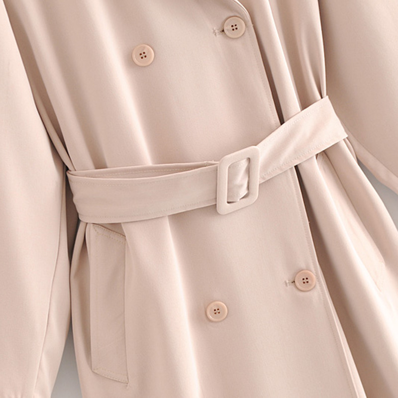 Ceinture Décoration Longue Beige Manteau Des Et vent Femmes Tranchée 2018 Couture Solide Automne Treillis Couleur De D'hiver Casual Coupe 6gwnHqOZ