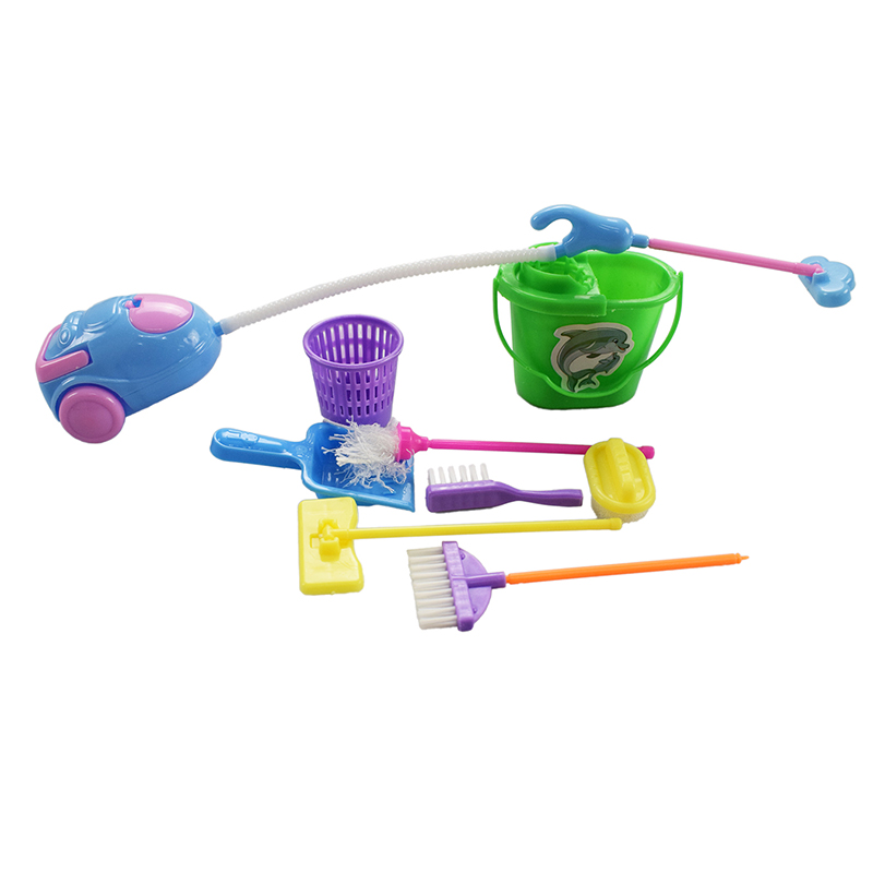 9 Pcs/Set Household Cleaning Kits Furnishing Home Furniture Cleaning Tools for Children Gift Barbie Doll Accessories