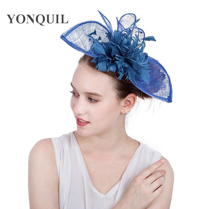 Light Blue Classic Fascinator Feather Hat Womens Headwear Charming Hair Accessories Elegant Women Wedding Races Hats SYF158