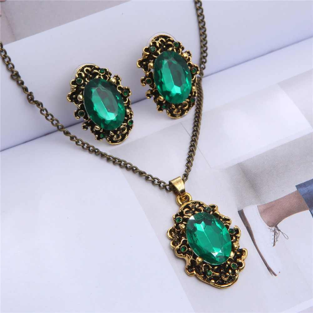 2019 Royal blue green william kate wedding jewelry set bridal Crystal vintage bronze plated fashion girl Necklace Earrings 1105
