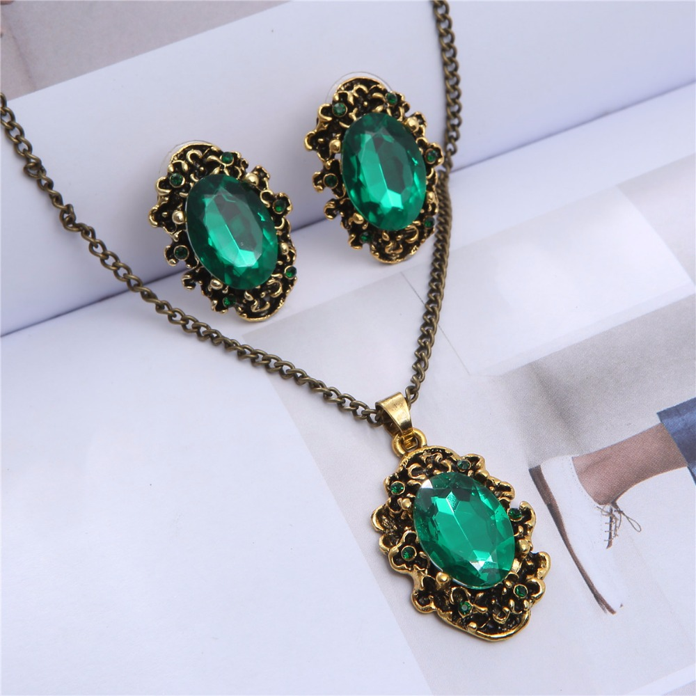 <font><b>2019</b></font> Royal blue green william kate wedding <font><b>jewelry</b></font> <font><b>set</b></font> bridal Crystal vintage bronze plated fashion girl Necklace Earrings 1105 image
