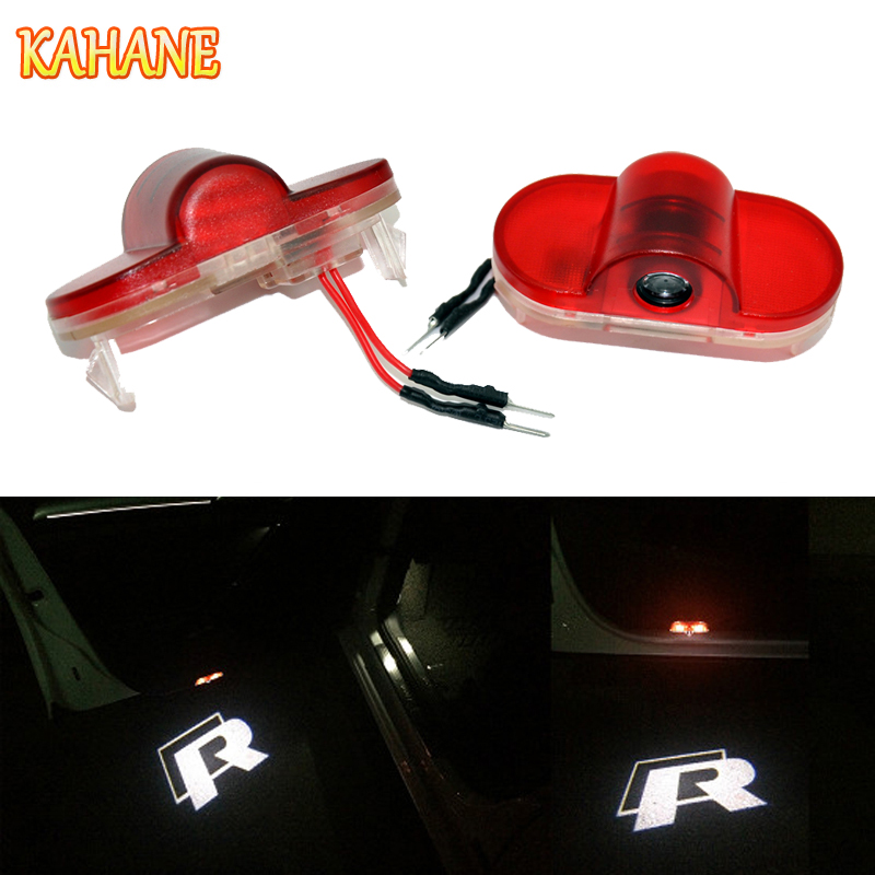 KAHANE 2x R Rline LED Car Door Light Projector Courtesy Laser Light Ghost Shadow Light FOR VW Golf 4 Touran Caddy Beetle free shipping 2x car led laser projector welcome ghost shadow light for mazda 6 new car styling auto accessory parts