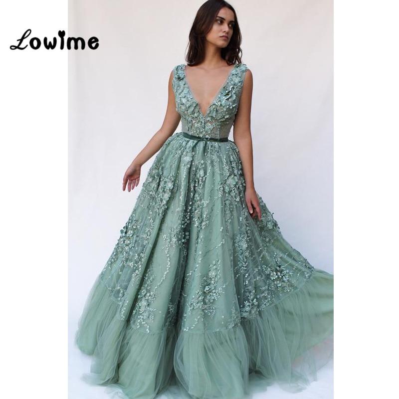 Robes De soirée col en V 2018 nouveauté Applique Robe De soirée pour les mariages Robe formelle femmes élégante Robe De soirée robes De bal