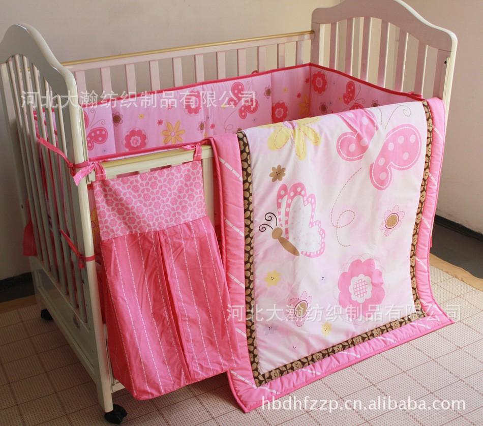 Promotion! 5PCS Embroidery 100% Cotton Baby Bedding Nursery Cot Crib Bedding Set (bumper+duvet+bed cover+bed skirt+diaper bag)