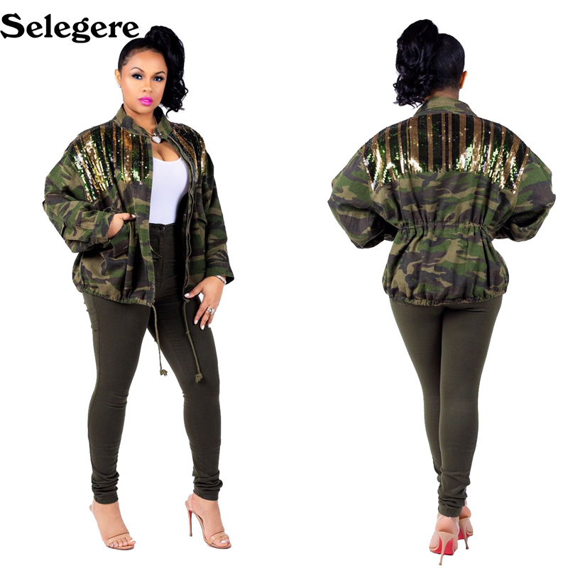 10pcs/lot New Women's Green Camouflage long Sleeve Coats With Sparkle Glam Striped Sequin Europe and America Hot sale Overcoat