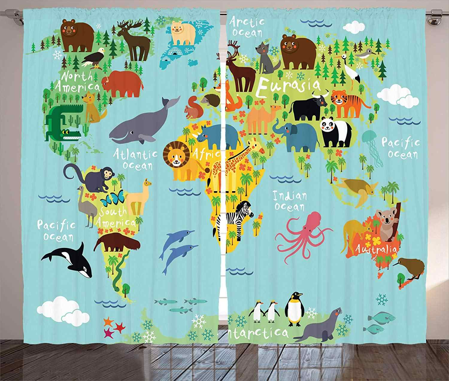 Wanderlust Decor Curtains Animal Map of The World for Children and Kids Cartoon Mountains Forests Living Room Bedroom Decor 2