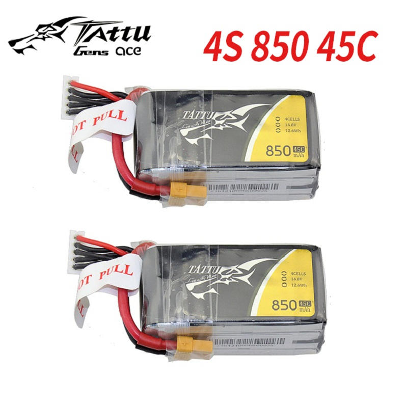 2 Pack TATTU <font><b>3S</b></font> Lipo Battery <font><b>850mAh</b></font> 75C Battery 11.1V XT30 Plug 58MM*29MM*21MM FPV Frame Drone Quadcopter Helicopter RC Car image