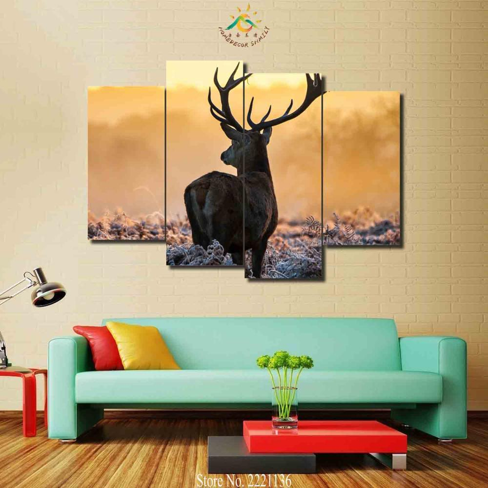 3-4 Pieces Winter Deer Look for Her Lover Pictures Painting Home Decoration Wall Art HD Canvas Modern