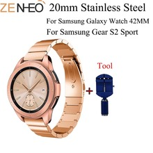 20mm Stainless Steel Watch Bands For Samsung Galaxy 42mm Bracelet Strap for Samsung Gear S2 Classic/Sport Band with Adjust Tool stainless steel bamboo style wrist strap with butterfly clasp watch band for samsung gear s2 classic sm r732 bracelet