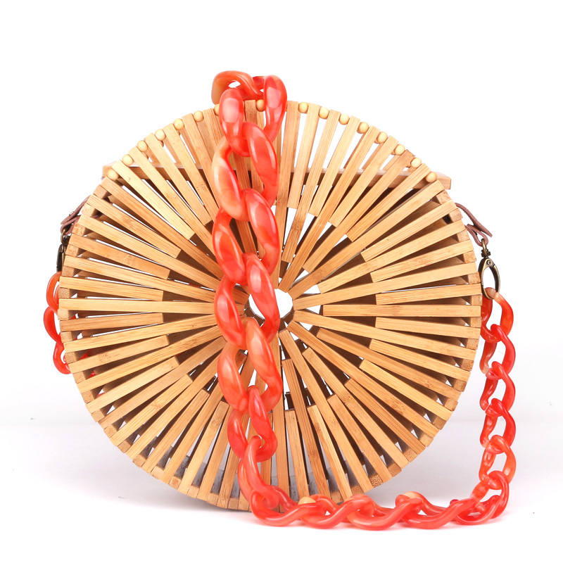 2018 New Round Circle Bamboo Woven Bag Female Causal Small Hollow Summer Beach Bags for Ladies and Girls Acrylic Shoulder Strap new fashion ladies hand woven bamboo bag retro beach round bamboo package bohemian shoulder messenger bag