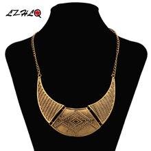 Lzhlq ожерелье в форме полумесяца металлические резные винтажные