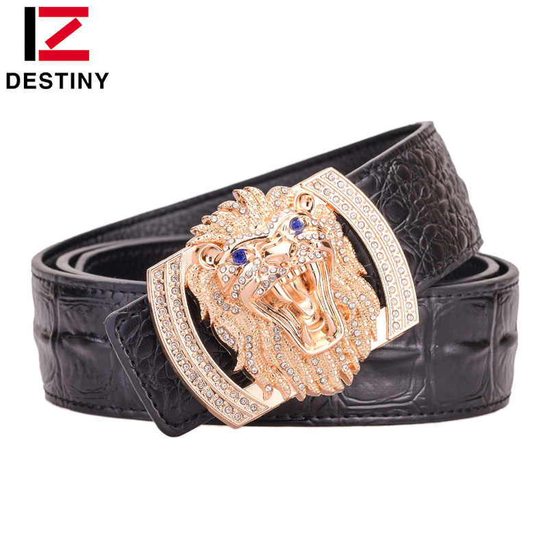 DESTINY Man Belt Luxury Famous Brand Designer Belts Men High Quality Male Genuine Leather Strap Waist Wedding Lion Crocodile