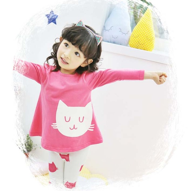 a94e633c92ab1 J.G 2Pcs/set Girls clothing Cat Cute Toddler Girl Clothes Kids Conjunto  Infantil Meninas Conjuntos Para Meninas Infant Clothing