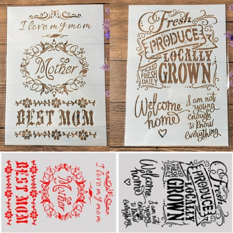 2Pcs/Lot A4 Best Mom Fresh Produce DIY Craft Layering Stencils Painting Scrapbooking Stamping Embossing Album Paper Template