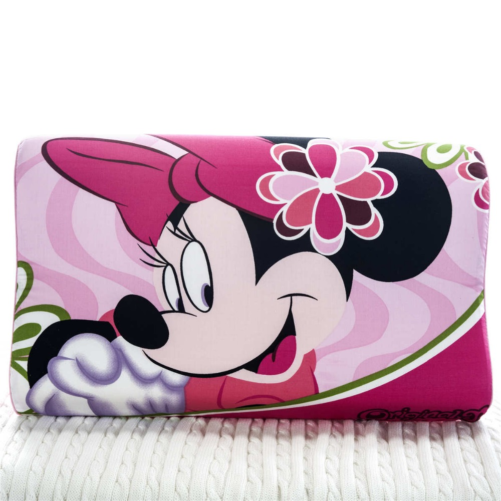 Sweet Deep Pink Minnie Mouse Cartoon Memory Pillows 50x30cm Bedroom Decoration Girls Bedding Slow Rebound Wave Foam Sleeping