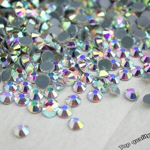 Image 1 - Toptan! 14400Pcs 1440Pcs sıcak düzeltme Rhinestone Flatback demir On düzeltme Strass kristal AB/temizle ince düğün elbisesi aksesuarları