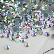 ¡Venta al por mayor! Diamantes de imitación termoadhesivos para fijación en caliente, estrás de Cristal AB, accesorios de vestido de novia finos transparentes, 14400 Uds. 1440 Uds.