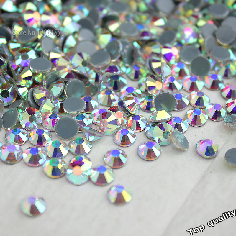Wholesale! 14400Pcs-1440Pcs Hot Fix Rhinestone Flatback Iron On Hotfix Strass Crystal AB / Clear Fine Wedding Dress Accessories