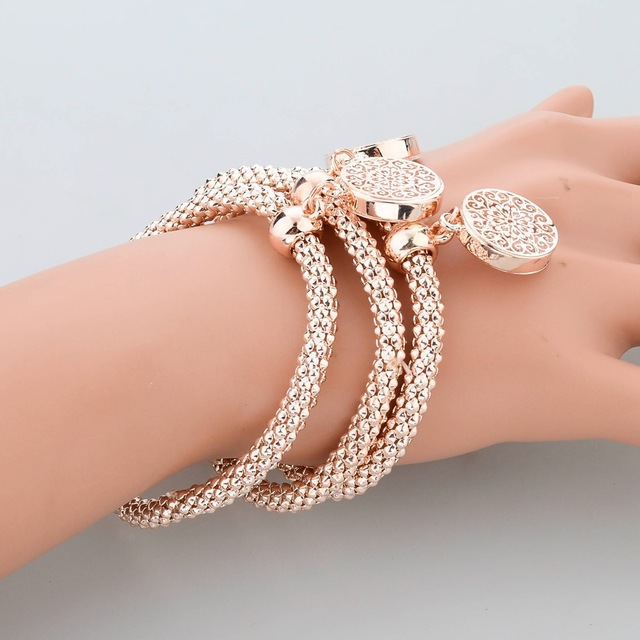 Women's Gold Plated Bangle Pendant Bracelets