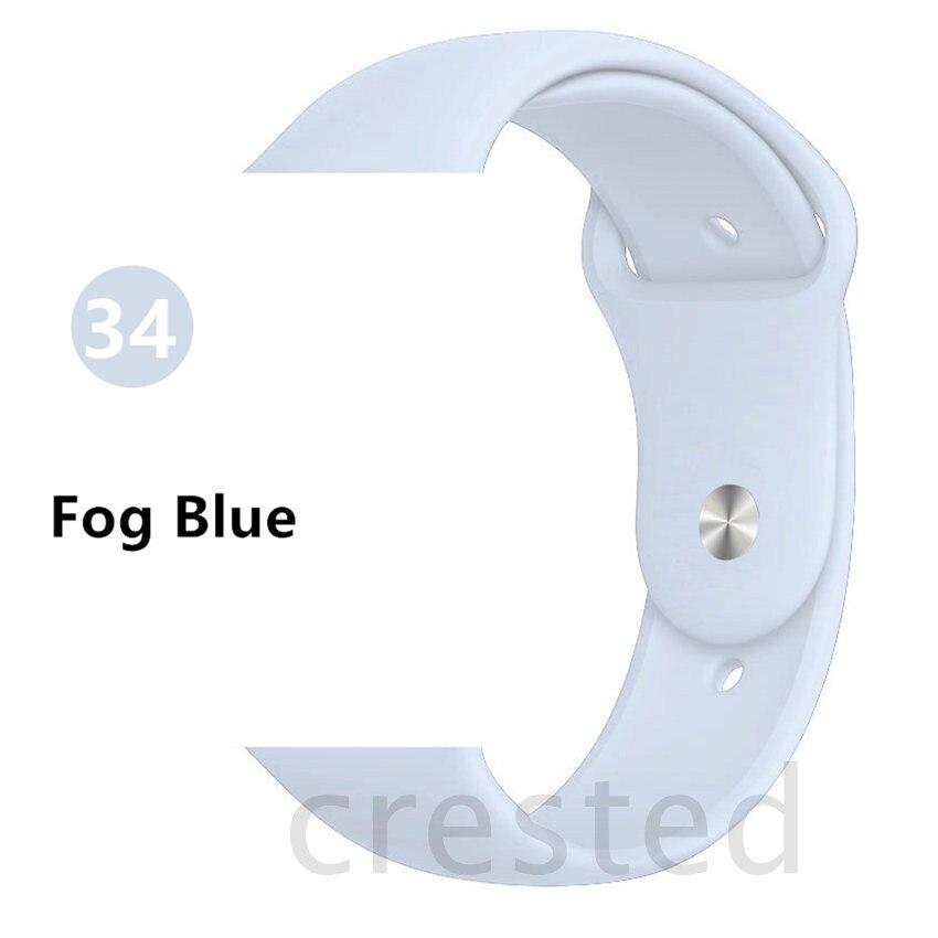 Силиконовый ремешок для apple watch 4 5 44 мм/40 мм спортивный ремешки для apple watch 3 42 мм/38 мм резиновый ремень браслет ремешок для часов apple watch Band Мягкий красочный ремешок iwatch series 4 3 2 1 - Цвет ремешка: Fog Blue