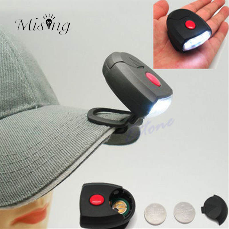 Mising 2 Modes Battery 4 bright LEDs Cap Light Outdoor Camping Lamp for Biking Hiking 90 Degree Rotatable Clip-on Hat Lights